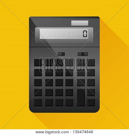 Calculator icon with long shadow. Flat design vector illustration.