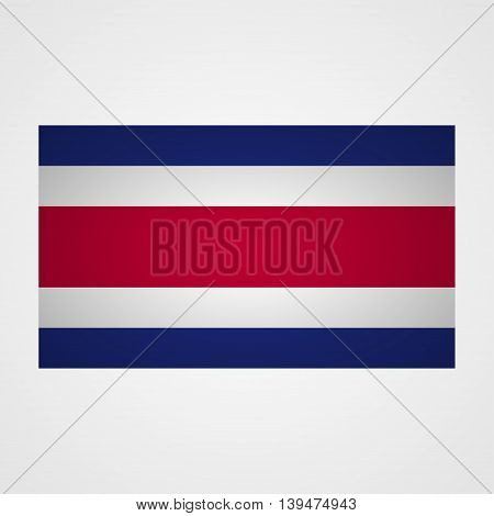 Costa Rica flag on a gray background. Vector illustration