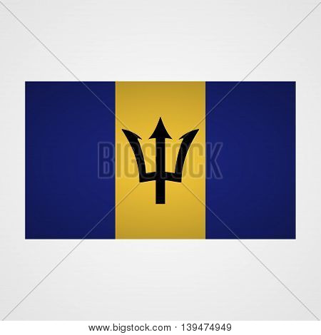 Barbados flag on a gray background. Vector illustration