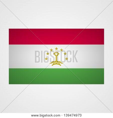 Tajikistan flag on a gray background. Vector illustration