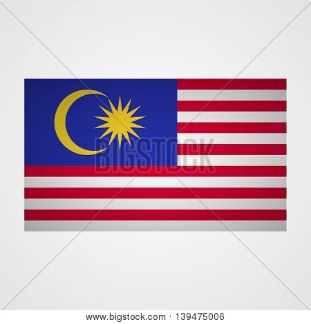 Malaysia flag on a gray background. Vector illustration
