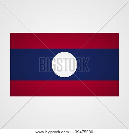 Laos flag on a gray background. Vector illustration