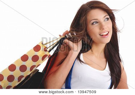 Shopping happy woman. Isolated over white background