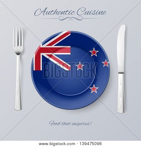 Authentic Cuisine of New Zealand. Plate with Flag and Cutlery