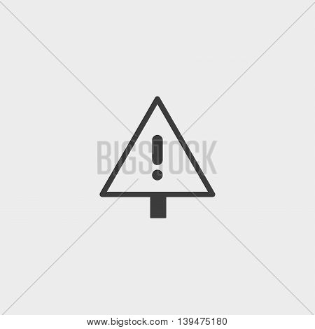 Exclamation point icon in a flat design in black color. Vector illustration eps10