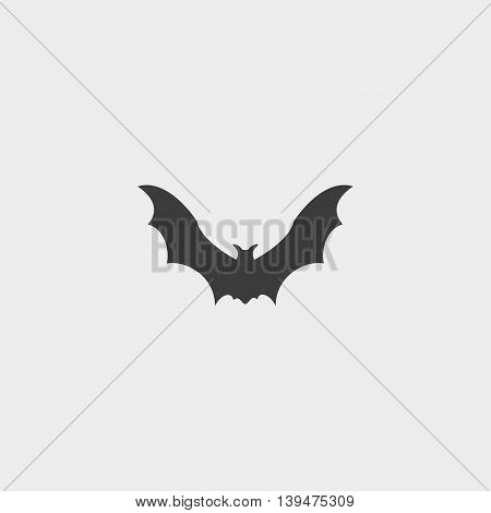 Bat Icon in a flat design in black color. Vector illustration eps10