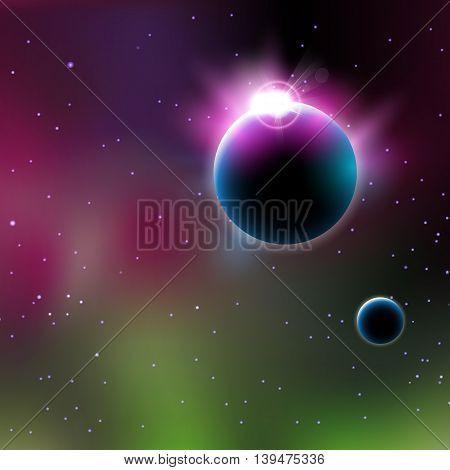 Astronomy planet sunrise easy all editable easy all editable