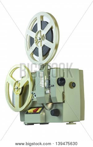 retro projection 8 mm film on a white background