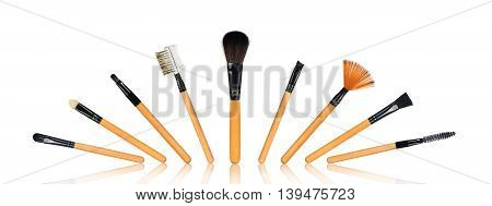 Complete set of makeup brushes isolated on white background