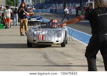 Le Mans, France, July 9, 2016 : In The Pitlane During Le Mans Classic On The Circuit Of The 24 Hours