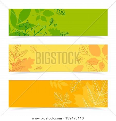 Autumn simple banners. Vector illustration easy to edit.