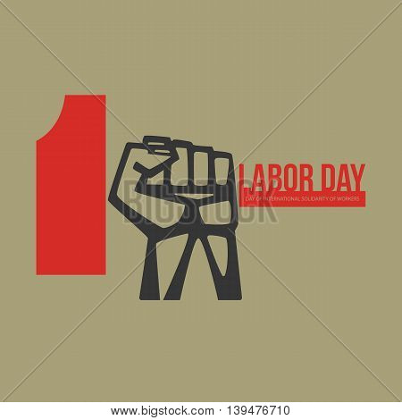 International labour day logo Poster emblem banner. Concept creative artwork with man holding hammer. May First.