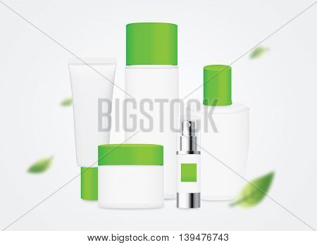 Group shot cosmetic container white color with green cap in a scene of blowing leaves in the wind.