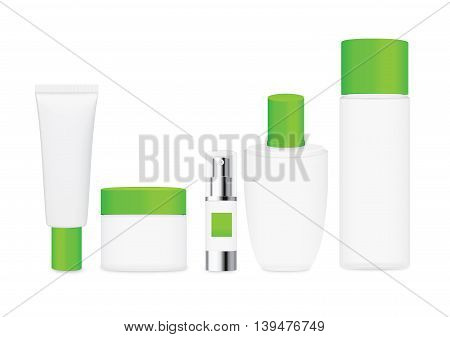 Group shot cosmetic container white color with green cap. For product container mock up