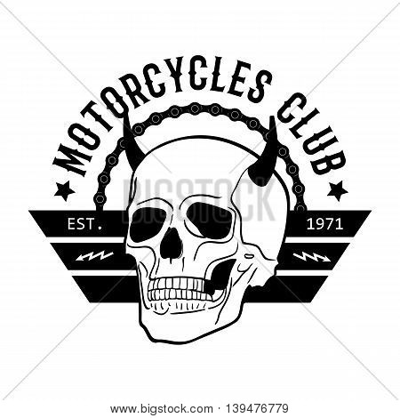 Motorcycle club vintage labels Biker T-shirt Motorcycle Emblem. Vector illustration.