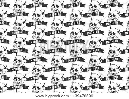 Horned skulls seamless pattern with an inscription - Mad Head. Vector illustration