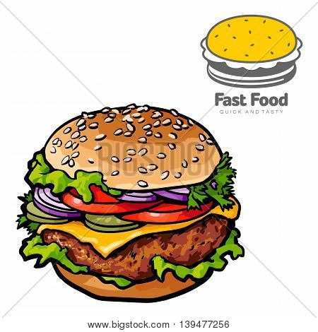 tasty burger with logo sketch illustration. logo isolated on white background, sketch tasty and juicy hamburger close-up with a chop, cheese and vegetables isolated. logo for fast-food cafe