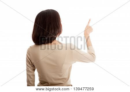 Back Of Asian Business Woman Touching The Screen With Her Finger