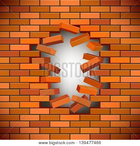 White hole in the brick wall, vector illustration