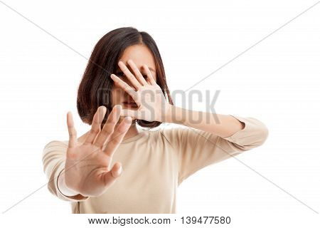 Young Asian Woman  Hide Her  Face