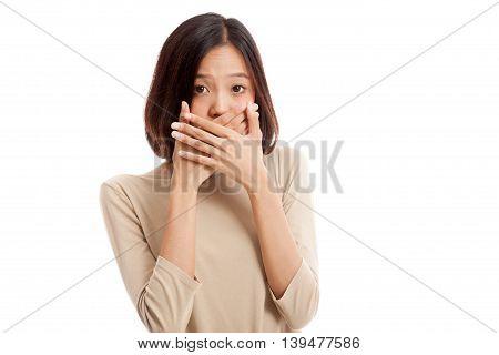 Beautiful Young Asian Woman Close Her Mouth