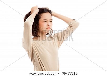 Stressed Young Asian Businesswoman Scream Out