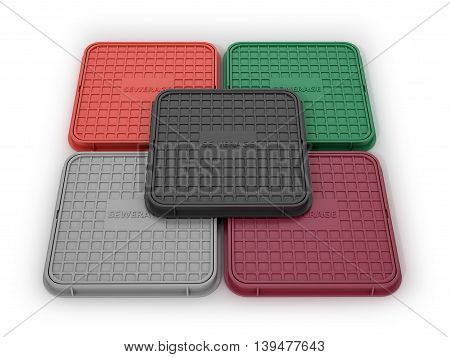 Multicolored square manholes on a white background. 3D illustration