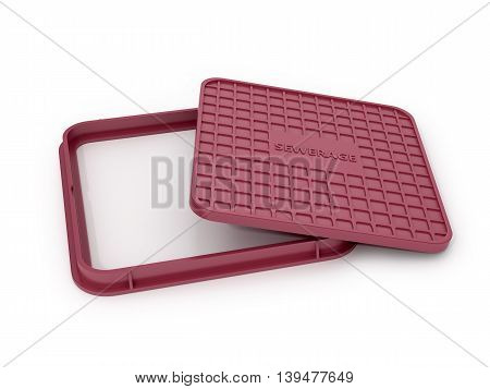 Maroon square manhole cover on a white background. 3D illustration