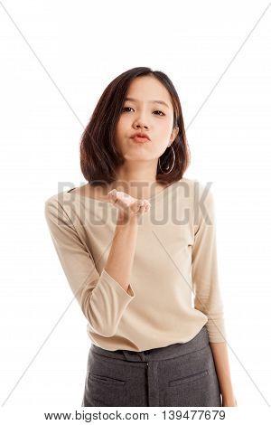 Beautiful Young Asian Woman Blow A Kiss