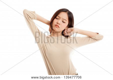 Sleepy Young Asian Woman Yawn