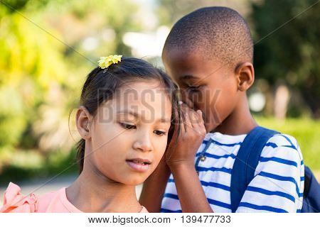 Close-up of schoolboy whispering to girl at campus