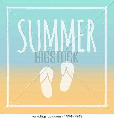 Summer frame vector sunny beach with flip flops