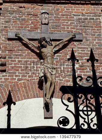 The ancient crucifix located in the old Armenian church in Lviv.