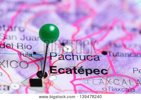 Ecatepec pinned on a map of Mexico