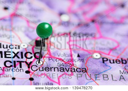 Cuernavaca pinned on a map of Mexico