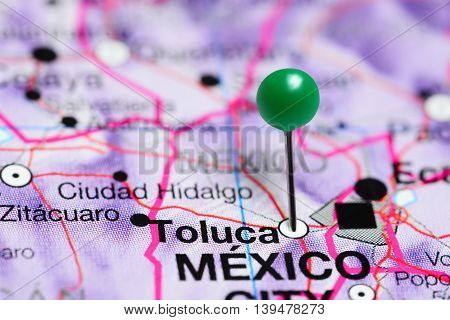 Toluca pinned on a map of Mexico