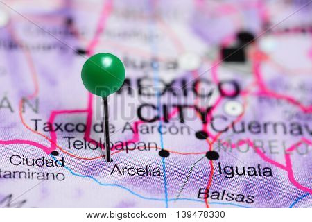 Arcelia pinned on a map of Mexico