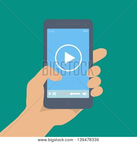 Mobile phone with video player on the screen in the human hand or movie app  illustration.