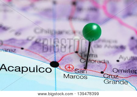 San Marcos pinned on a map of Mexico
