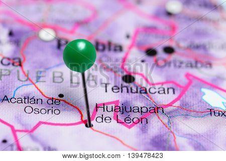 Huajuapan de Leon pinned on a map of Mexico