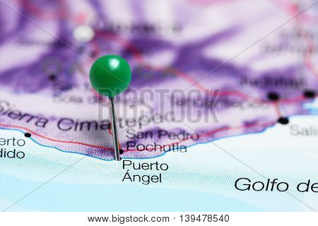 Puerto Angel pinned on a map of Mexico