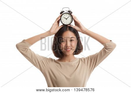 Young Asian Business Woman Smile With A Clock