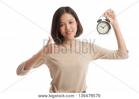 Young Asian Business Woman Show Thumbs Up With A Clock