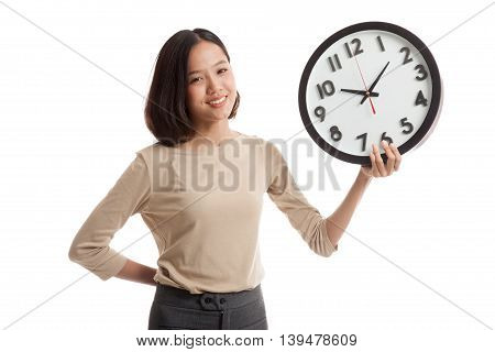 Young Asian Business Woman With A Clock