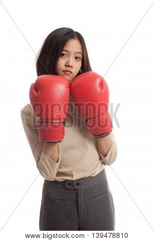 Young Asian Business Woman With Red Boxing Gloves