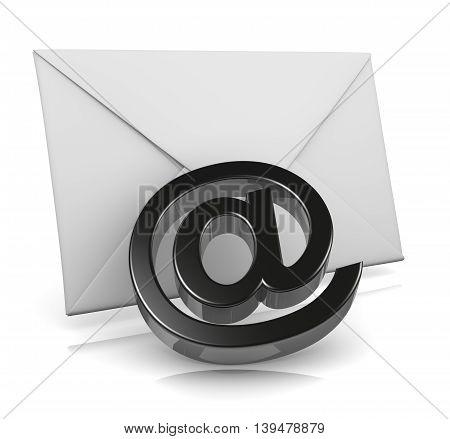 Single Mail Envelope with Email Black At Symbol 3D Illustration on White Background