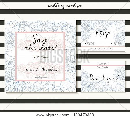 Vector wedding card set in tender style. Decorated with peony bouquet and lace. Includes save the date rsvp and thank you cards templates.