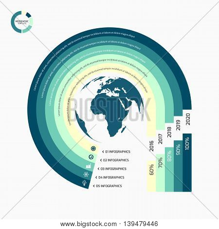 Circle Infographic Template With Globe With 5 Options, Parts, Steps, Processes For Graphs, Charts, D
