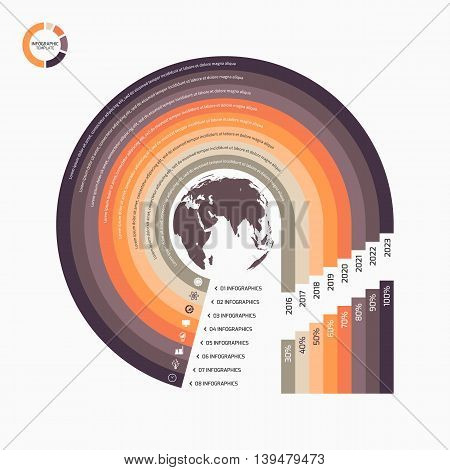Circle Infographic Template With Globe With 8 Options, Parts, Steps, Processes For Graphs, Charts, D