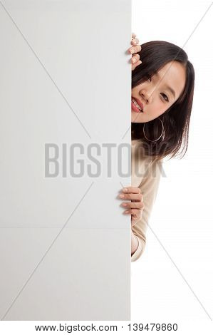 Young Asian Woman With Blank Sign